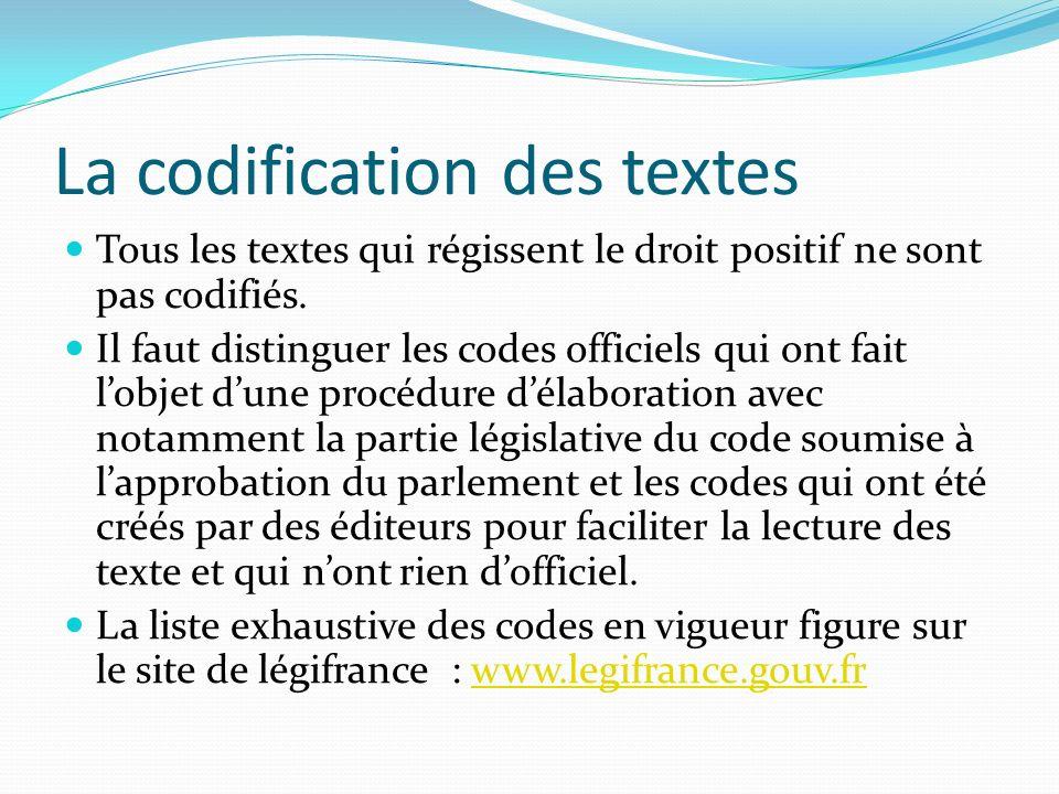 La codification des textes