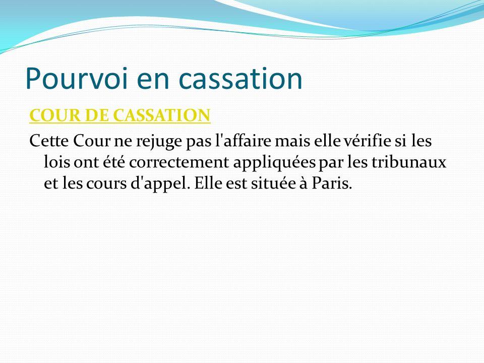Pourvoi en cassation COUR DE CASSATION