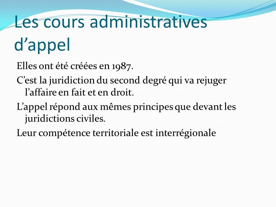 Les cours administratives d'appel