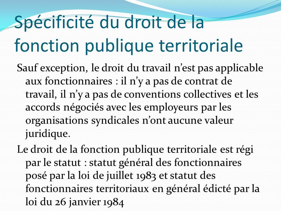 Spécificité du droit de la fonction publique territoriale