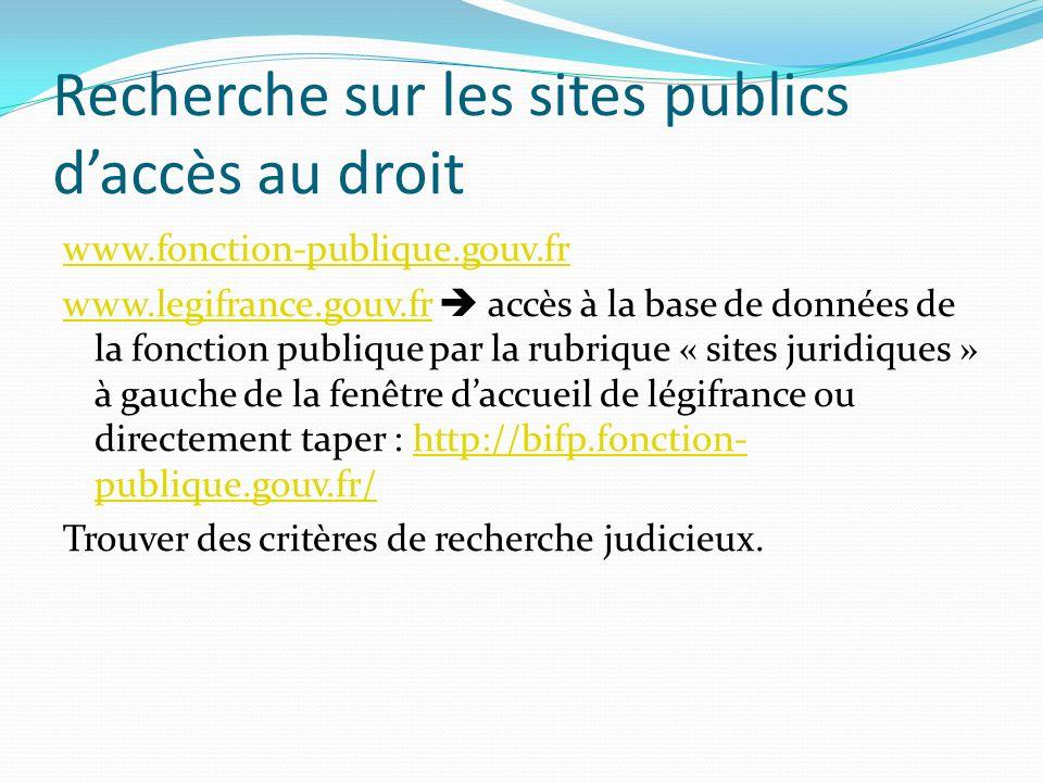 Recherche sur les sites publics d'accès au droit
