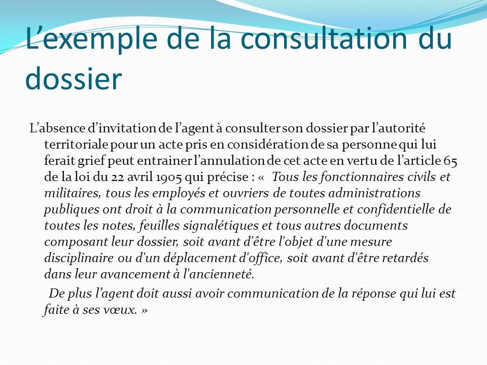 L'exemple de la consultation du dossier