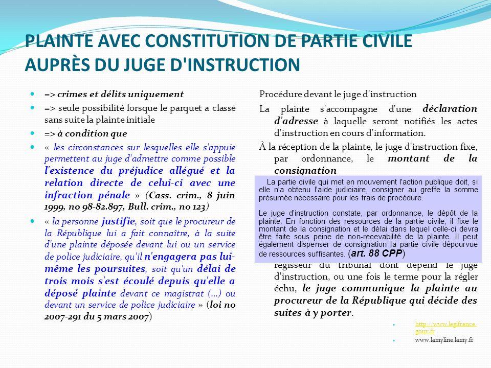 PLAINTE AVEC CONSTITUTION DE PARTIE CIVILE AUPRÈS DU JUGE D INSTRUCTION