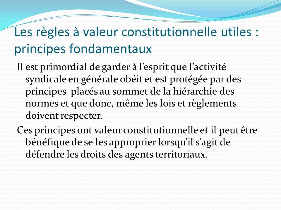 Les règles à valeur constitutionnelle utiles : principes fondamentaux