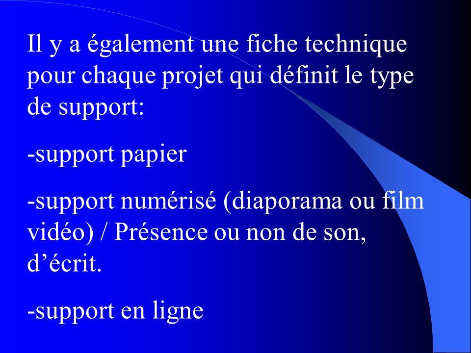 Il y a également une fiche technique pour chaque projet qui définit le type de support: