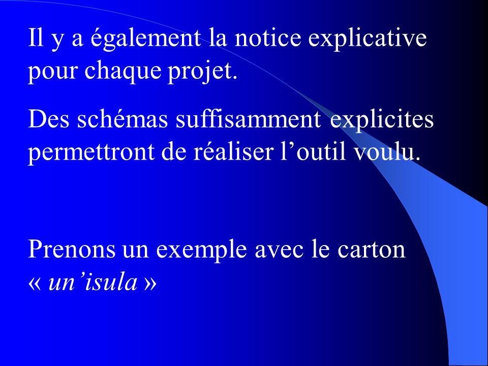 Il y a également la notice explicative pour chaque projet.
