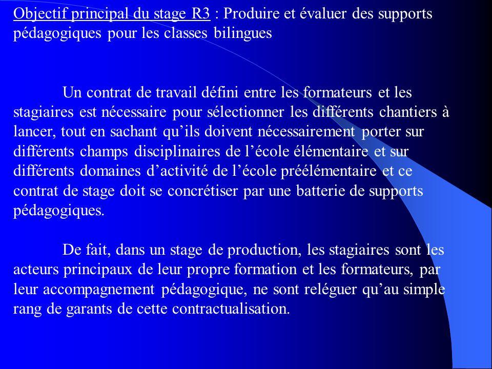 Objectif principal du stage R3 : Produire et évaluer des supports pédagogiques pour les classes bilingues