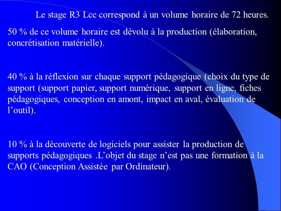 Le stage R3 Lcc correspond à un volume horaire de 72 heures.