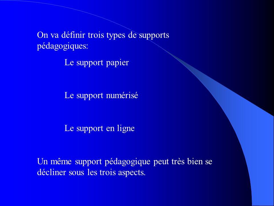 On va définir trois types de supports pédagogiques:
