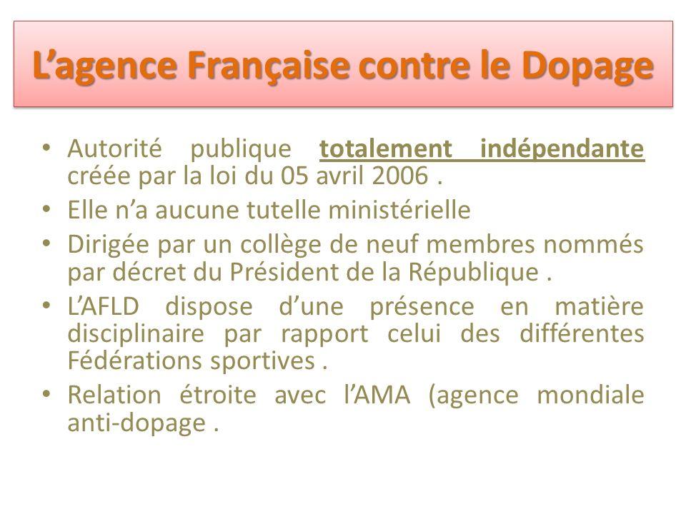 L'agence Française contre le Dopage