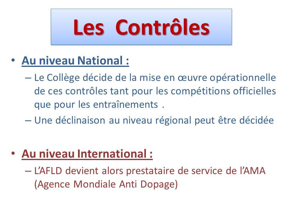Les Contrôles Au niveau National : Au niveau International :
