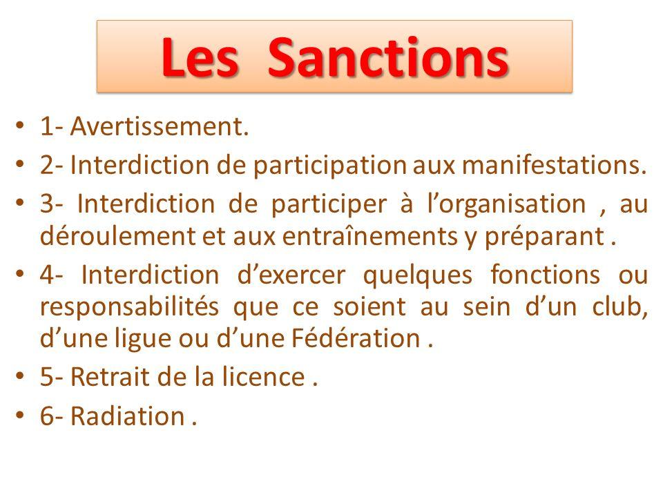 Les Sanctions 1- Avertissement.