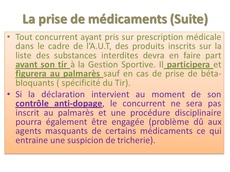 La prise de médicaments (Suite)