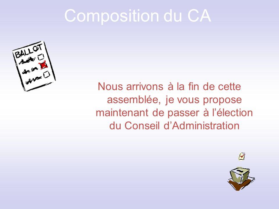 Composition du CA Nous arrivons à la fin de cette assemblée, je vous propose maintenant de passer à l'élection du Conseil d'Administration.