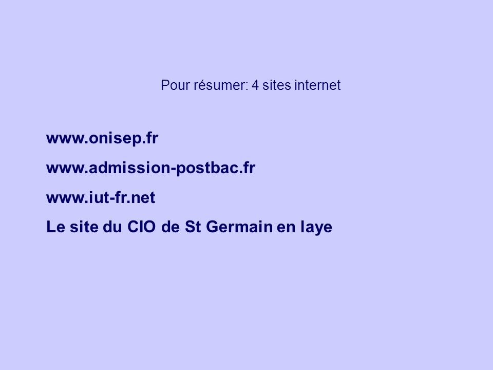 Pour résumer: 4 sites internet