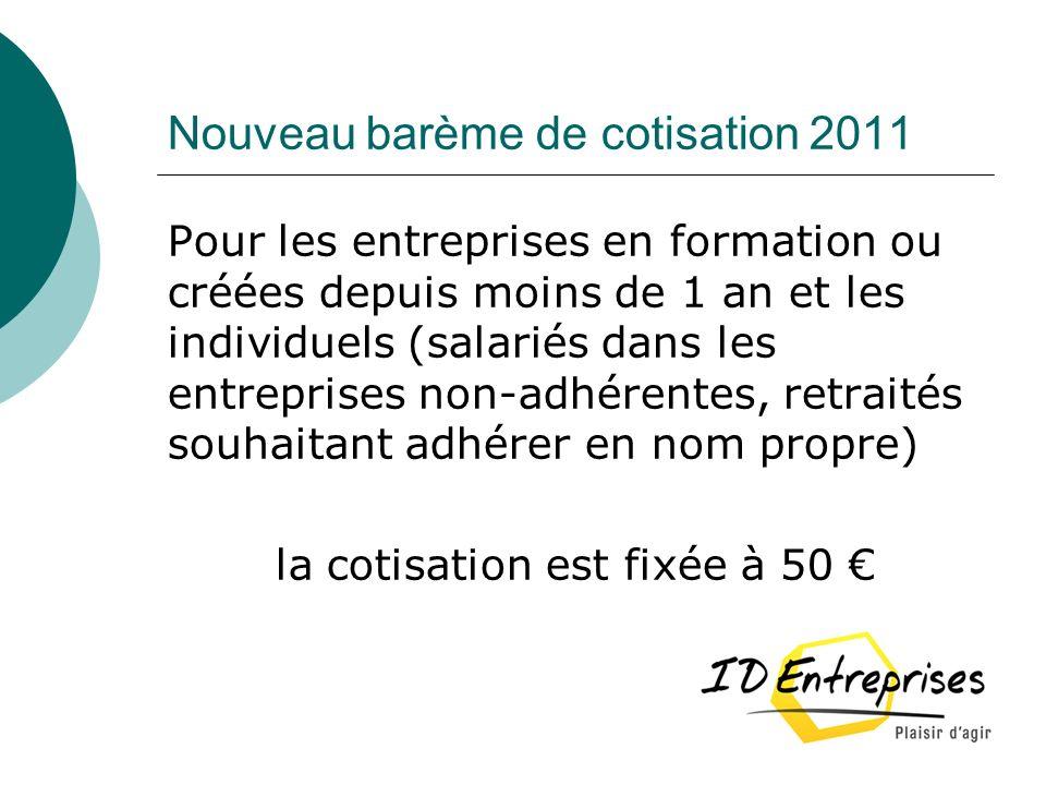 Nouveau barème de cotisation 2011