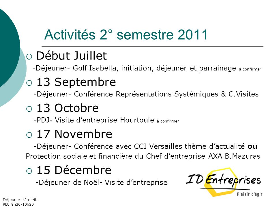 Activités 2° semestre 2011 Début Juillet 13 Septembre 13 Octobre