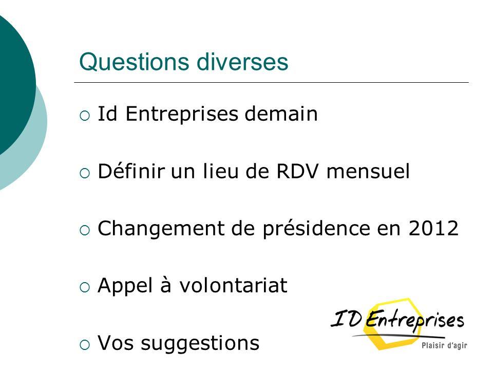 Questions diverses Id Entreprises demain