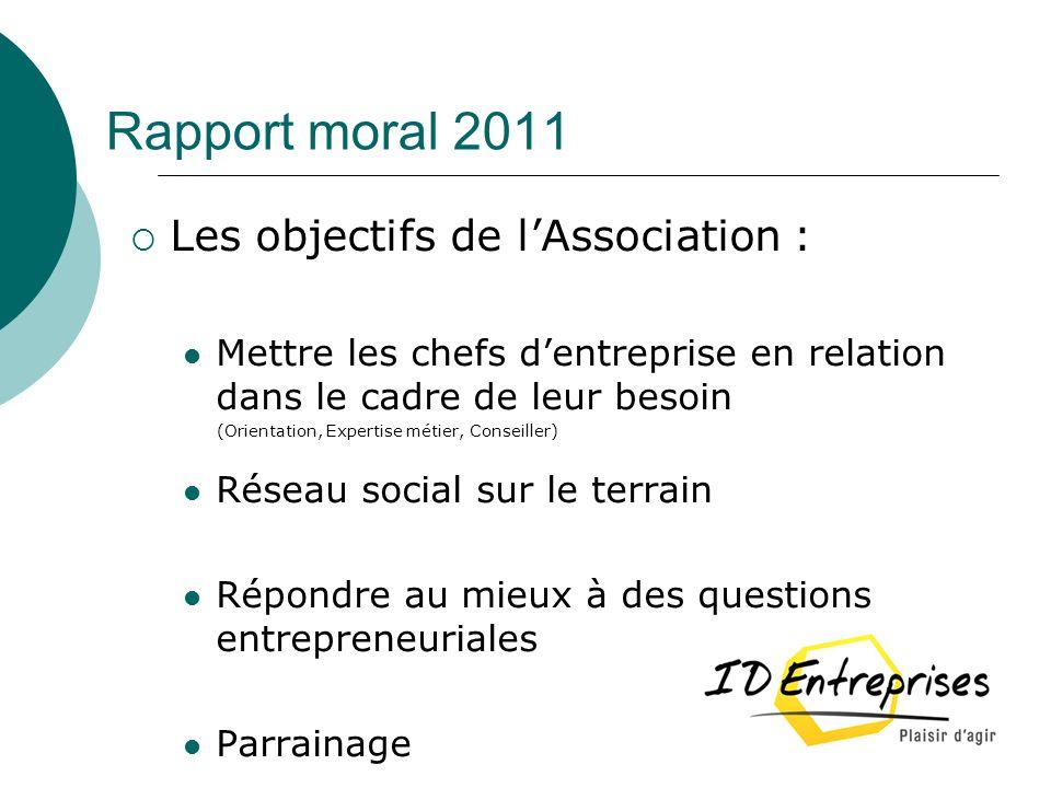 Rapport moral 2011 Les objectifs de l'Association :