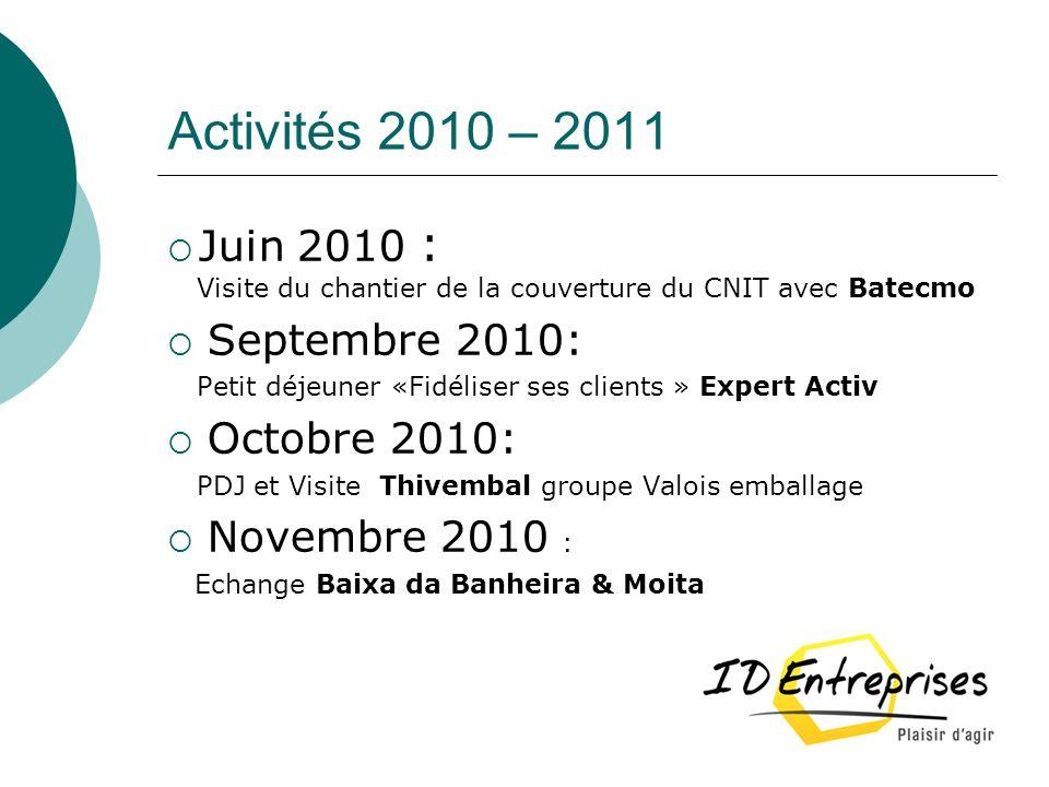 Activités 2010 – 2011 Juin 2010 : Septembre 2010: Octobre 2010: