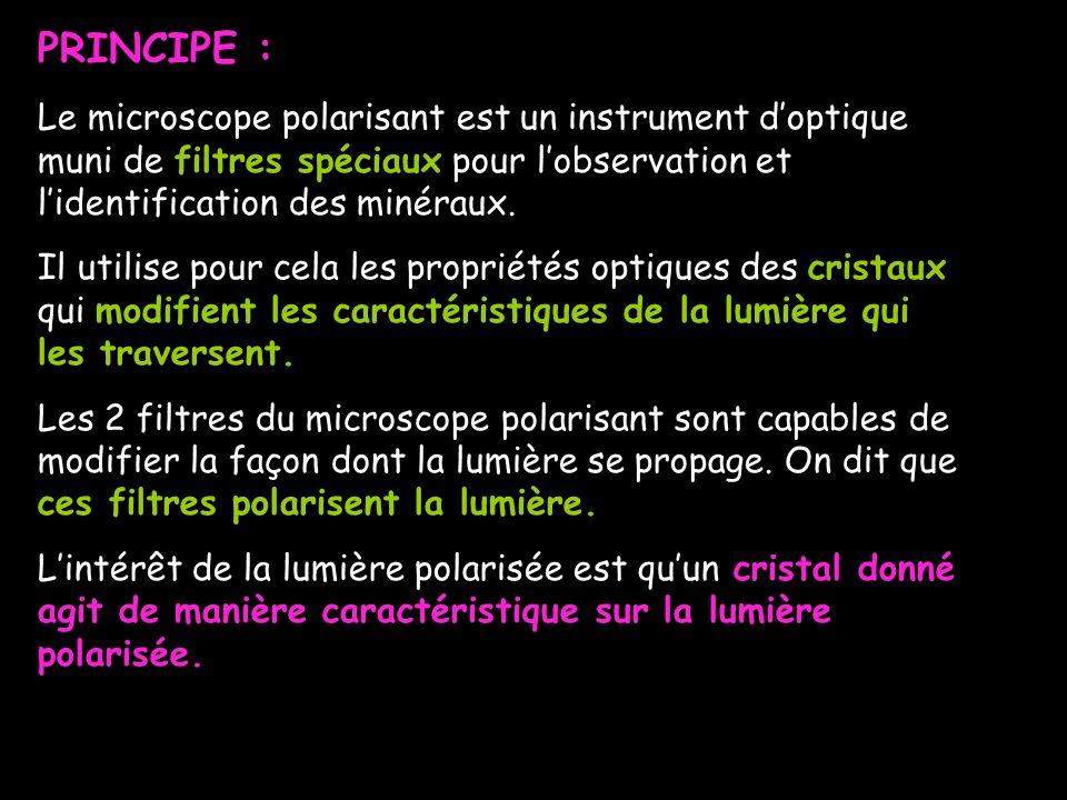 PRINCIPE : Le microscope polarisant est un instrument d'optique muni de filtres spéciaux pour l'observation et l'identification des minéraux.