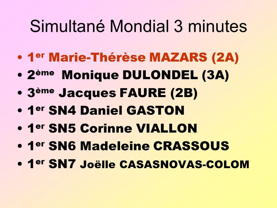 Simultané Mondial 3 minutes