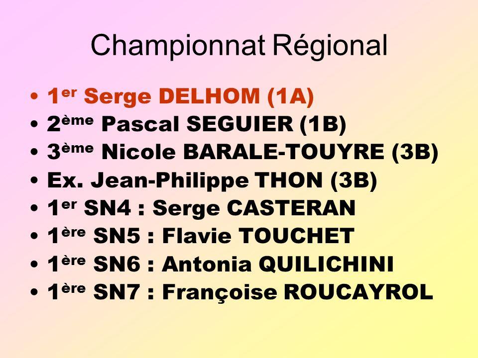 Championnat Régional 1er Serge DELHOM (1A) 2ème Pascal SEGUIER (1B)