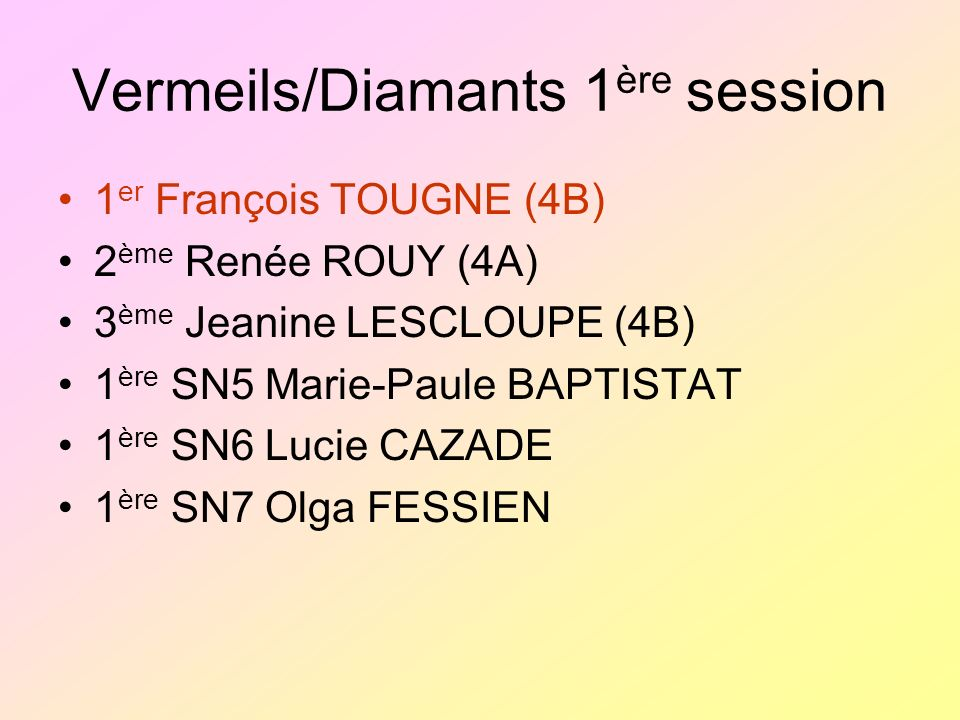 Vermeils/Diamants 1ère session
