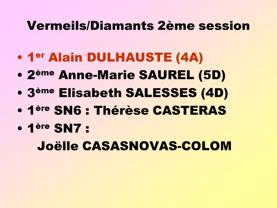 Vermeils/Diamants 2ème session