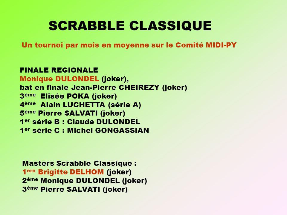 SCRABBLE CLASSIQUE Un tournoi par mois en moyenne sur le Comité MIDI-PY. FINALE REGIONALE. Monique DULONDEL (joker),