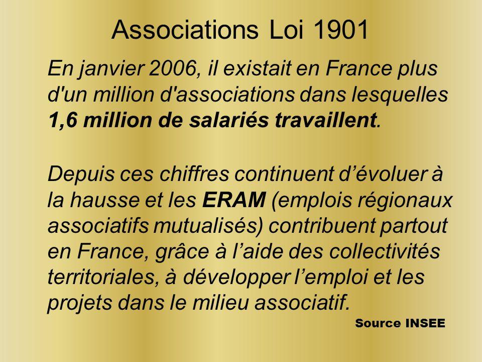 Associations Loi 1901 En janvier 2006, il existait en France plus d un million d associations dans lesquelles 1,6 million de salariés travaillent.