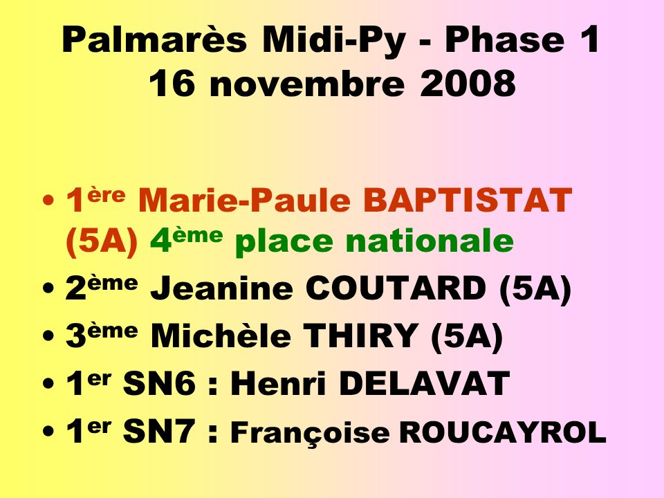 Palmarès Midi-Py - Phase 1 16 novembre 2008