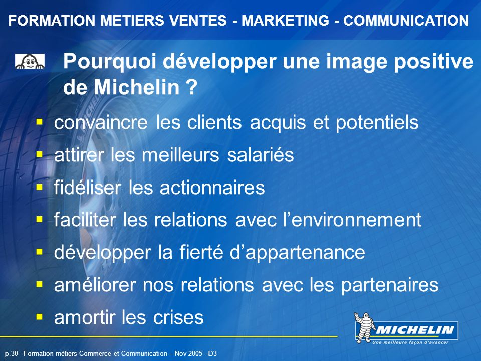 Pourquoi développer une image positive de Michelin