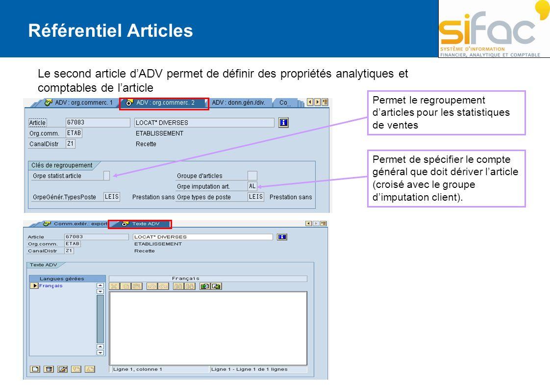 Référentiel Articles Le second article d'ADV permet de définir des propriétés analytiques et comptables de l'article.