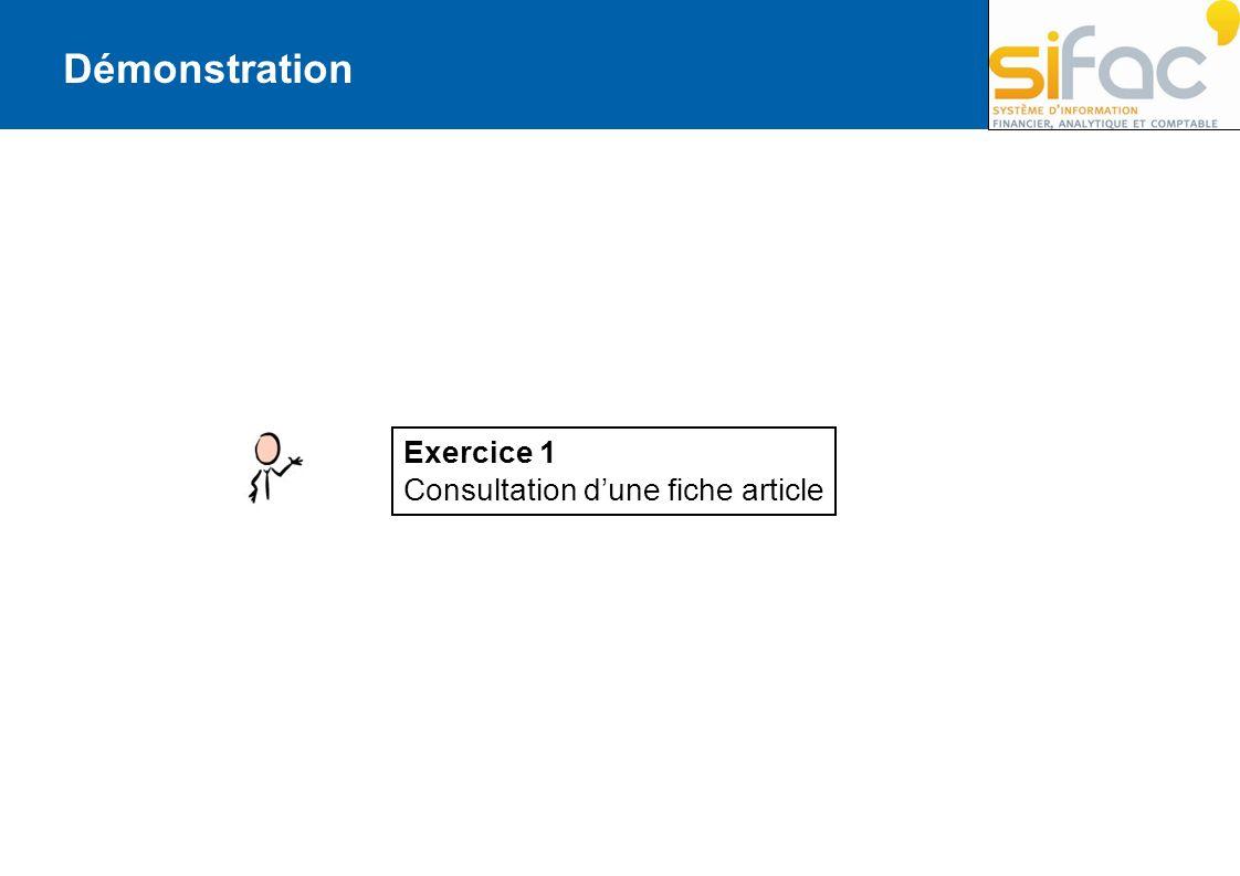 Démonstration Exercice 1 Consultation d'une fiche article
