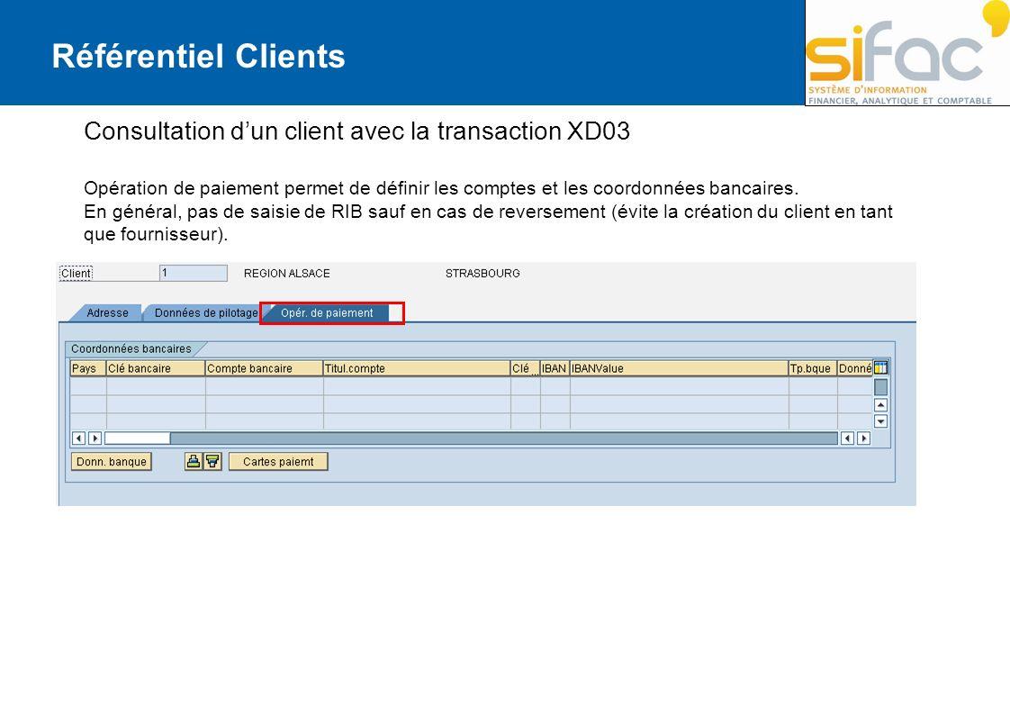 Référentiel Clients Consultation d'un client avec la transaction XD03