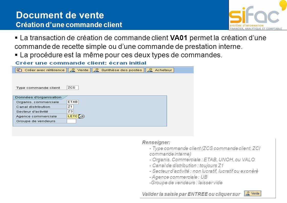 Document de vente Création d'une commande client.