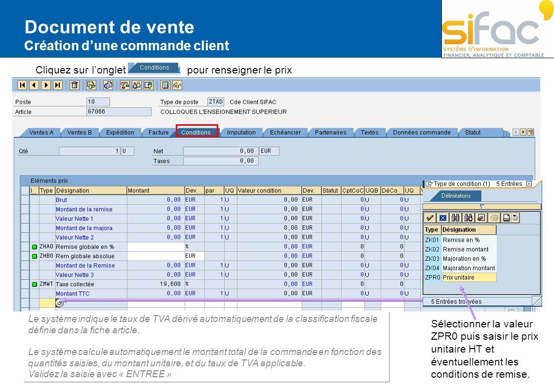 Document de vente Création d'une commande client