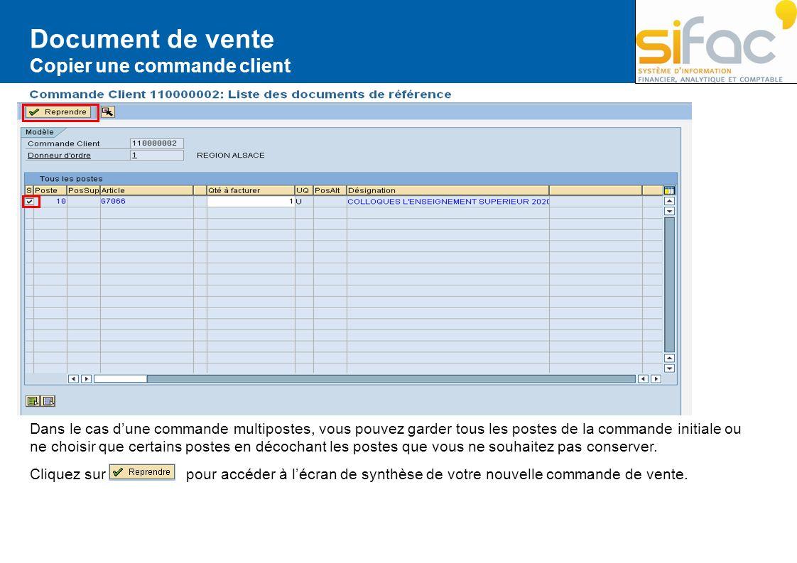 Document de vente Copier une commande client