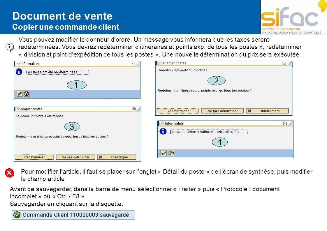Document de vente 2 1 3 4 Copier une commande client