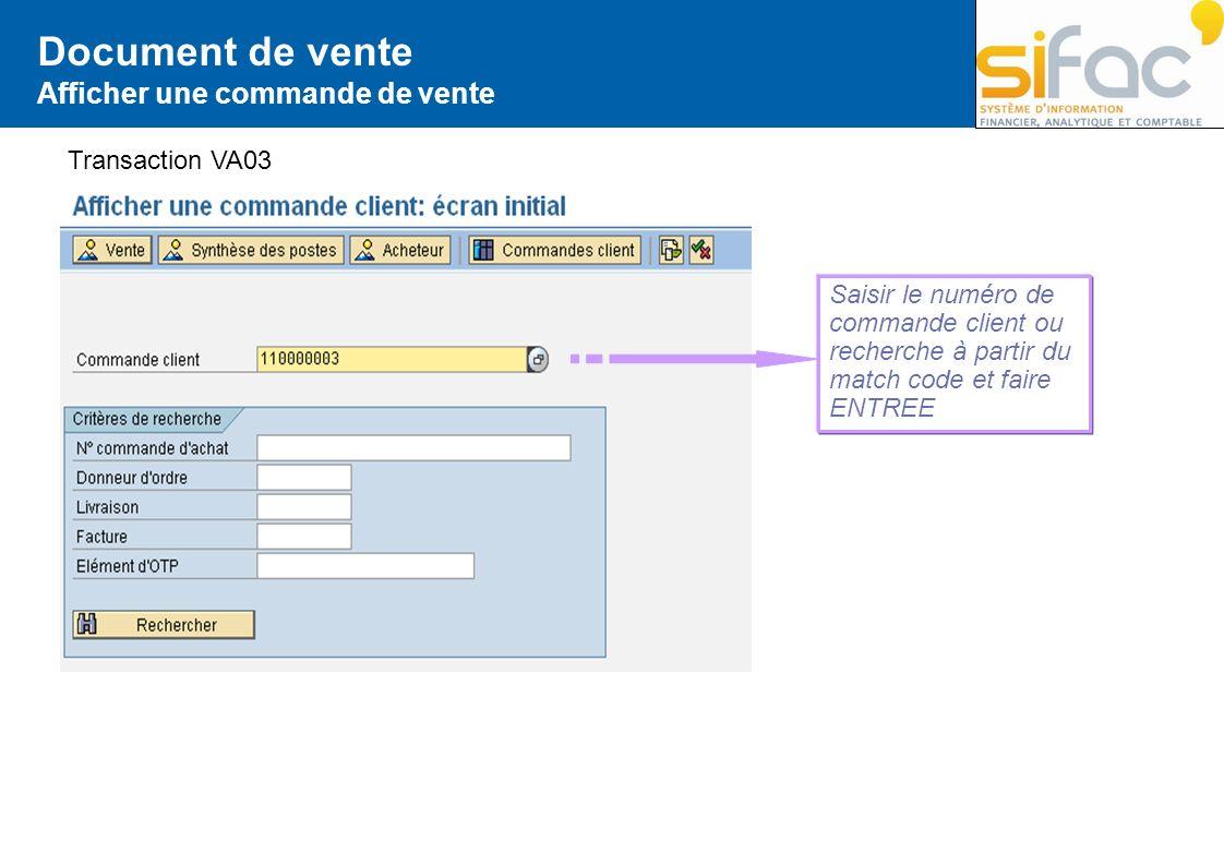 Document de vente Afficher une commande de vente Transaction VA03