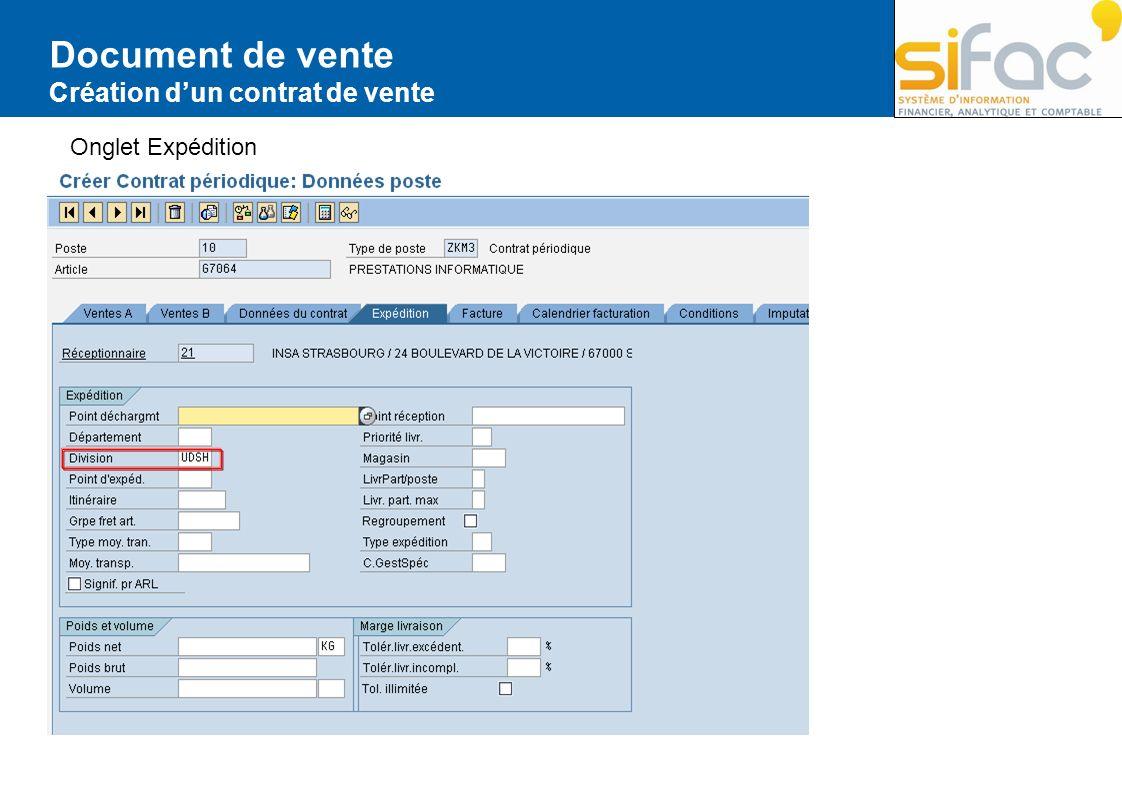 Document de vente Création d'un contrat de vente Onglet Expédition