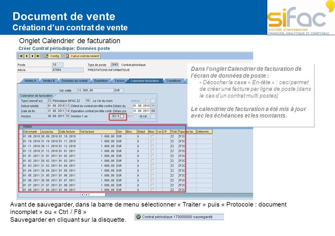Document de vente Création d'un contrat de vente