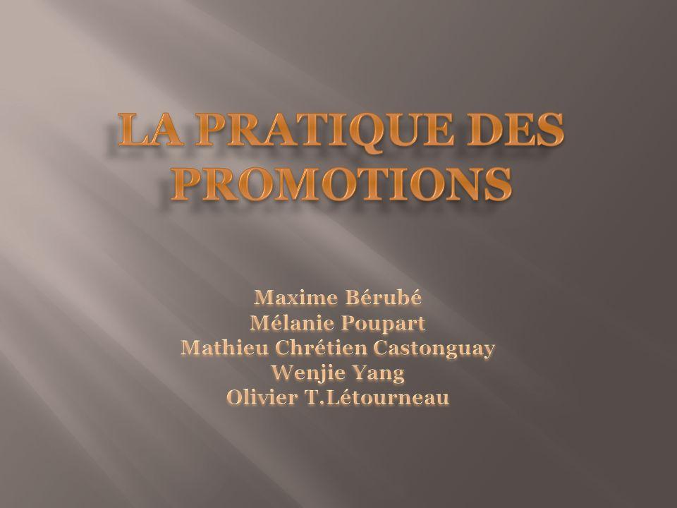 LA PRATIQUE DES PROMOTIONS