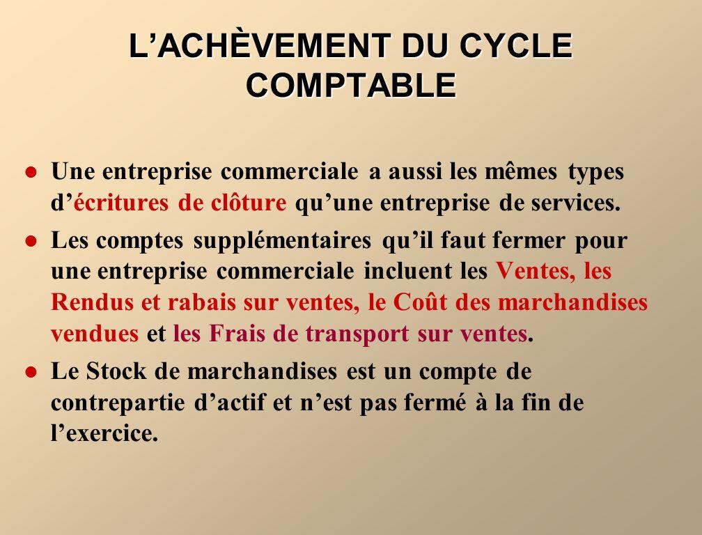 L'ACHÈVEMENT DU CYCLE COMPTABLE