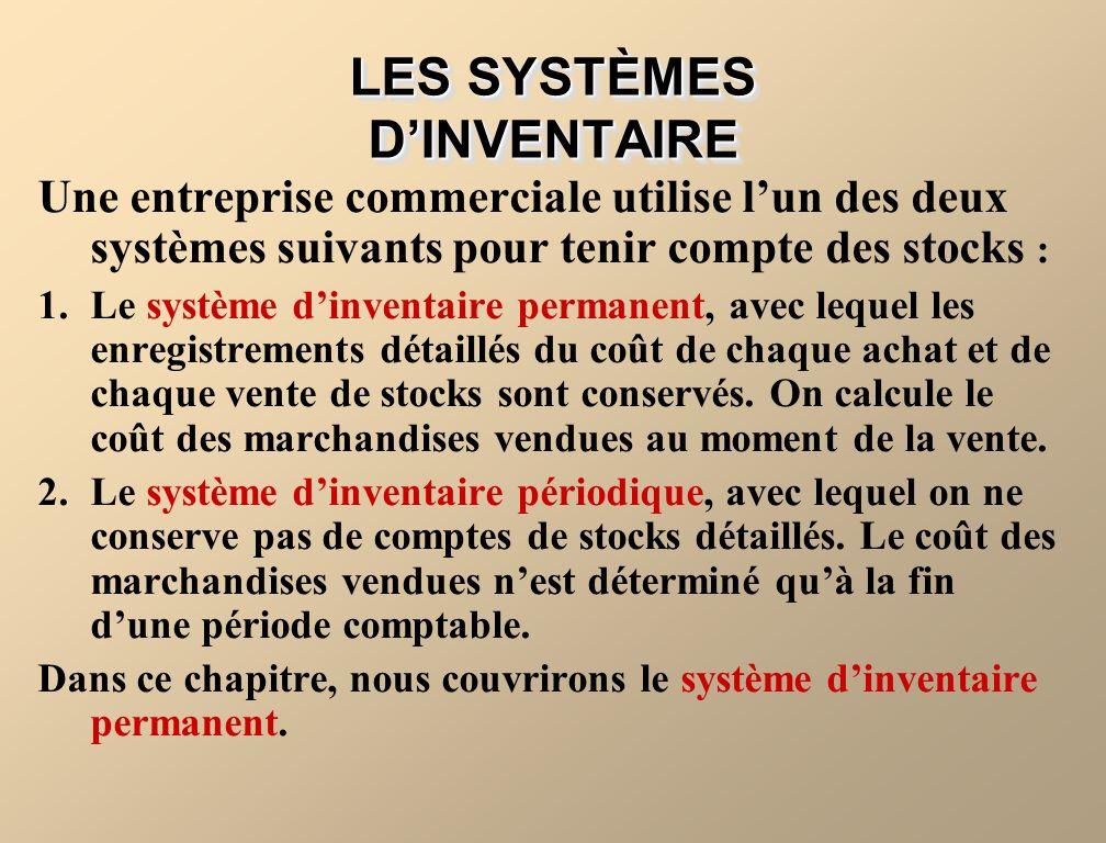 LES SYSTÈMES D'INVENTAIRE