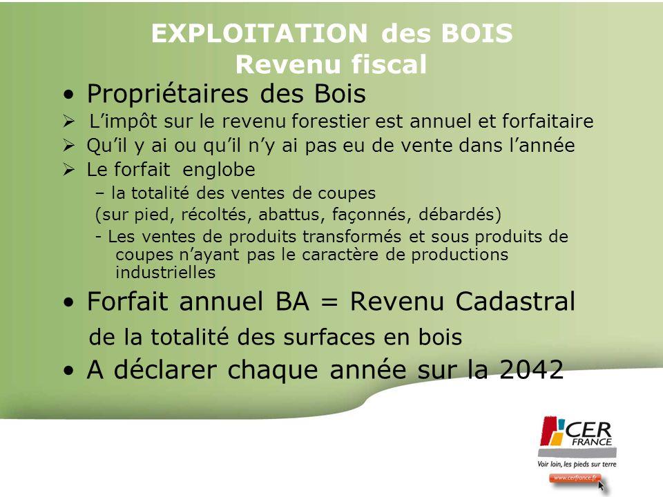 EXPLOITATION des BOIS Revenu fiscal