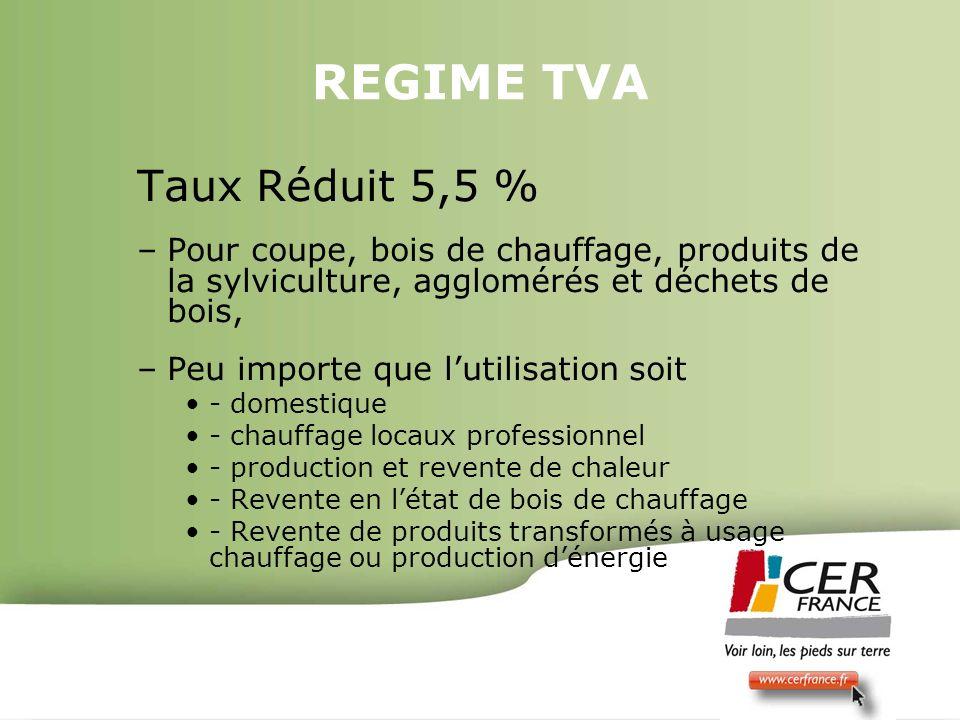 REGIME TVA Taux Réduit 5,5 %