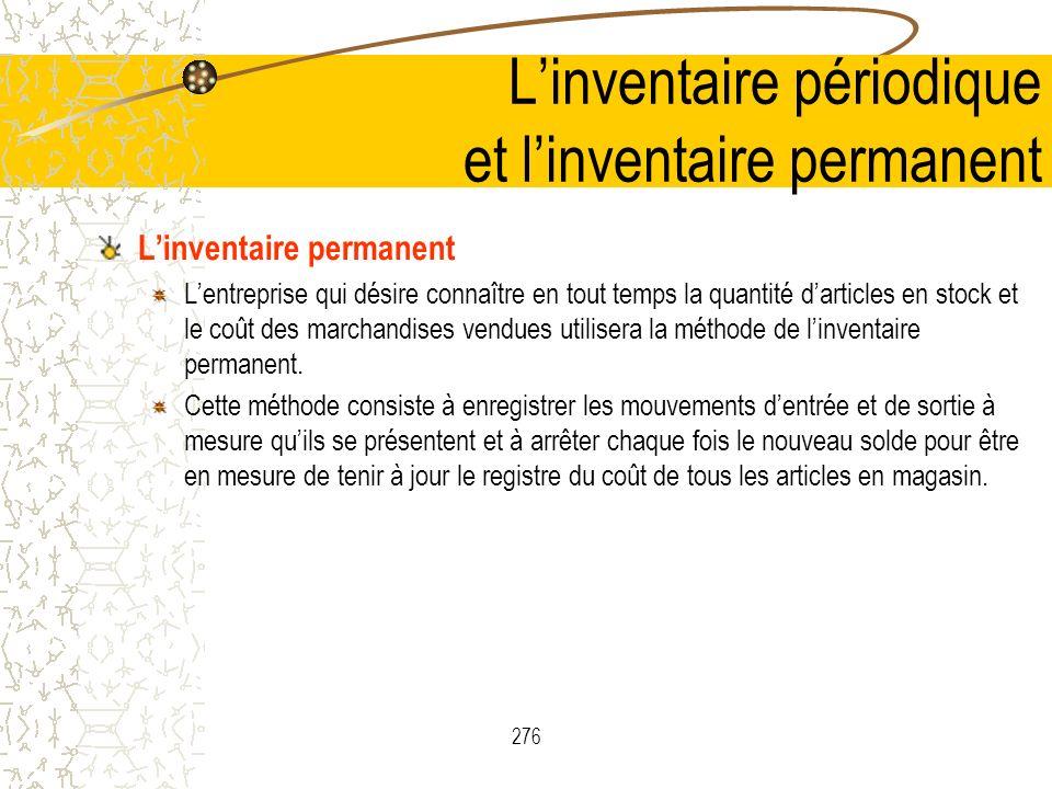 L'inventaire périodique et l'inventaire permanent