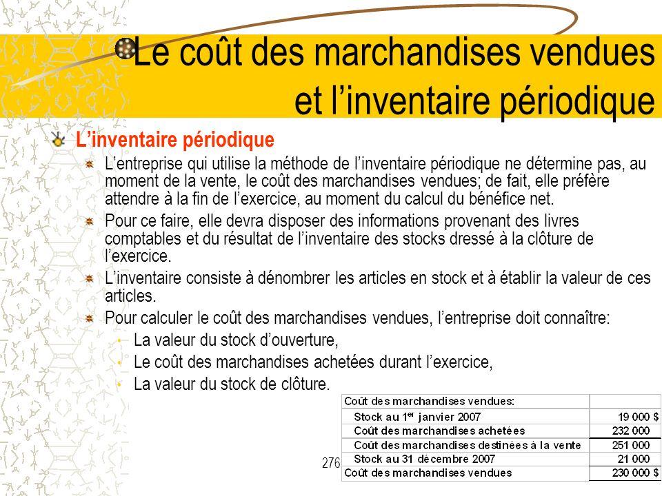 Le coût des marchandises vendues et l'inventaire périodique